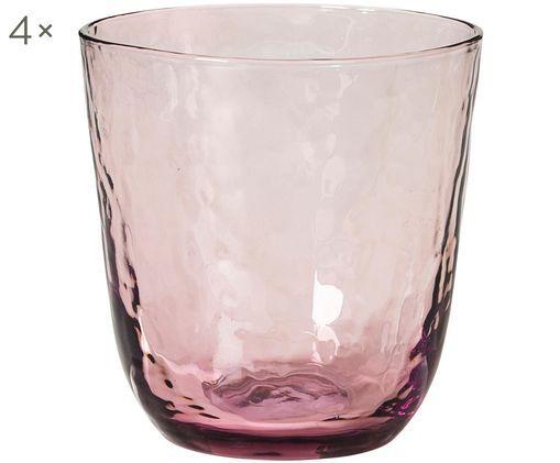 Verres à eau soufflés bouche, surface inégale Hammered, 4pièces, Lilas, transparent