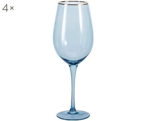 Weingläser Chloe in Blau mit Goldrand, 4er-Set, Glas, Dunkelblau, Ø 9 x H 26 cm