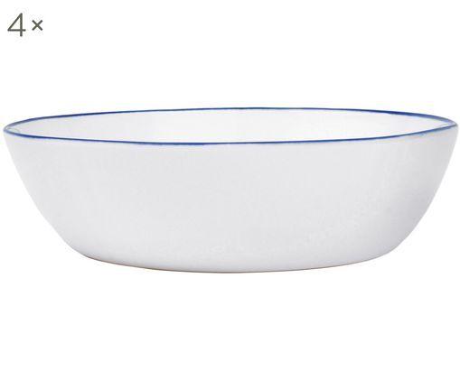 Schalen Abysse weiß/blau , 4 Stück, Porzellan, Weiß, Blau, Ø 17 x H 5 cm