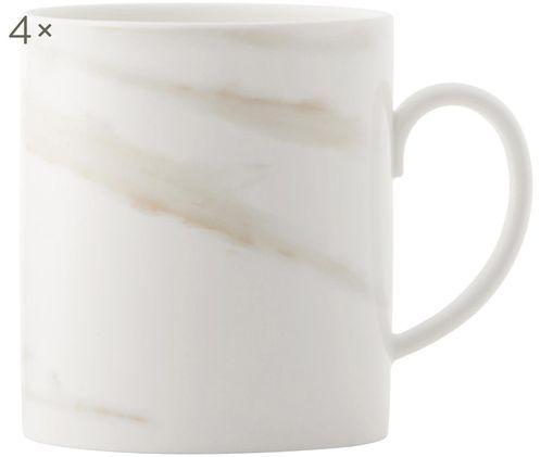 Kubek Venato Imperial, 4 szt., Porcelana chińska o wyglądzie marmuru, Biały, marmurowy, Ø 7 x W 10 cm