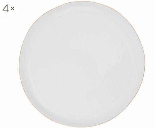 Frühstücksteller Abysse weiß/gold, 4 Stück, Porzellan, Weiß, Gold, Ø 21 cm