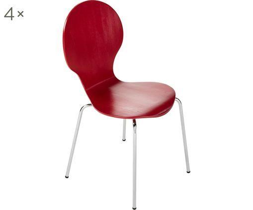 Sedie Marcus, 4 pz., Seduta: fibra di media densità, Struttura: acciaio, cromato, Rosso, Larg. 49 x Alt. 87 cm