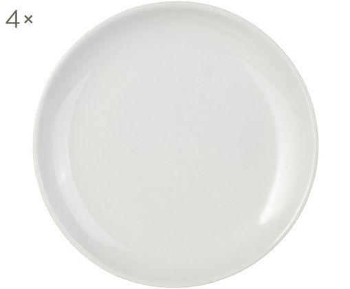 Handgefertigte Frühstücksteller Bisque, 4 Stück, Unten: Steingut, nicht glasiert, Weiß, Ø 22 cm