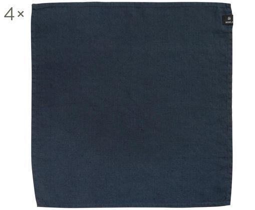 Tovagliolo di lino Sunshine, 4 pz., Lino, Blu acciaio, L 45 x P 45 cm