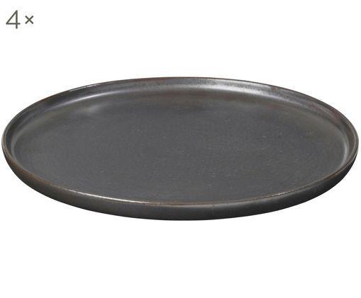 Piatto da colazione fatto a mano Esrum Night, 4 pz., Gres smaltata, Marrone grigiastro lucido argenteo opaco, Ø 21 cm
