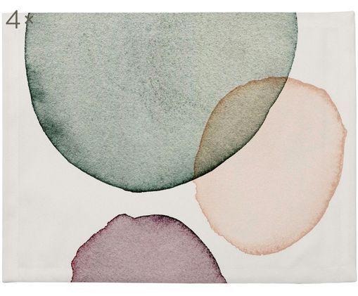 Tovaglietta Calm, 4 pz., Poliestere, Bianco, verde, lilla, salmone, Larg. 35 x Lung. 45 cm