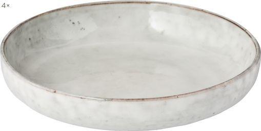 Handgemachte Schalen Nordic Sand Ø 22 cm aus Steingut, 4 Stück