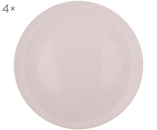 Handgefertigte Speiseteller Bisque, 4 Stück, Unten: Steingut, nicht glasiert, Hellrosa,  Weiß, Ø 28 cm