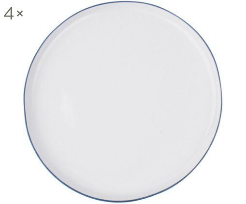 Speiseteller Abysse weiß/blau, 4 Stück, Weiß, Blau