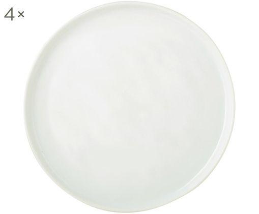 Piatto da colazione Porcelino, 4 pz., Porcellana in forma intenzionalmente irregolare, Bianco, Ø 22 cm