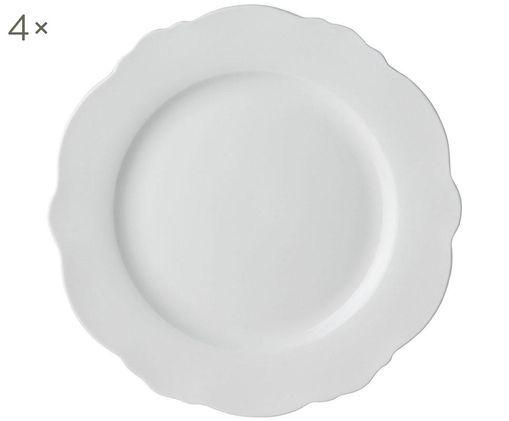 Piatto da colazione Muschel Loft, 4 pz., Porcellana, Bianco, Ø 21 x A 2 cm