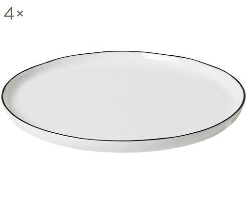 Handgemachte Frühstücksteller Salt, 4 Stück, Porzellan, Gebrochenes Weiß, Schwarz, Ø 22 cm