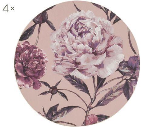 Onderzetters Secret Garden, 4 stuks, Bovenzijde: gecoat MDF (medium-densit, Onderzijde: kurk, Rozetinten, groentinten, Ø 10 cm
