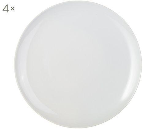 Handgefertigte Speiseteller Bisque, 4 Stück, Weiß