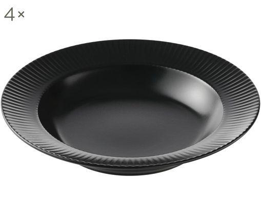 Suppenteller Groove mit Rillenstruktur, 4 Stück, Porzellan, Schwarz, Ø 23 x H 4 cm