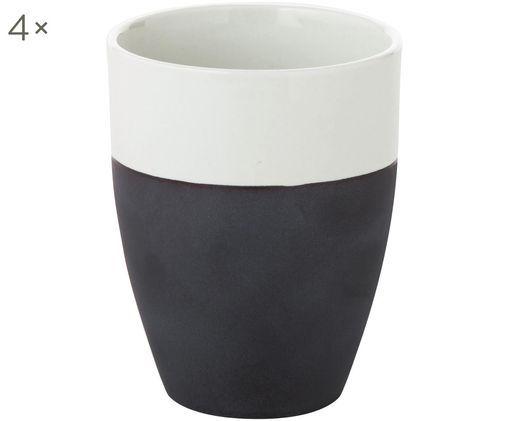 Mugs mats/brillants faits à la main Esrum, 4 pièces, Blanc ivoire, gris-brun