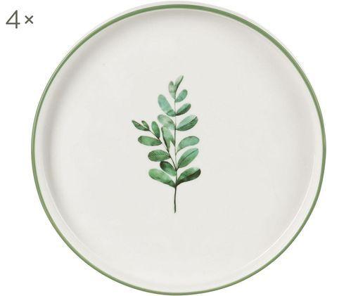 Assiettes à dessert eucalyptus, 4 pièces, Blanc, vert