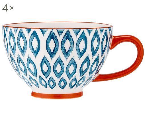 Ręcznie malowany kubek do kawy Ikat, 4 szt., Kamionka, Biały, niebieski, czerwony, Ø 13 x W 9 cm
