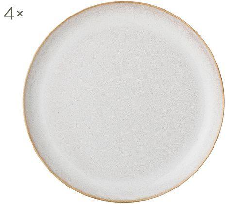 Assiettes plates faites à la main Carrie, 4pièces, Blanc cassé, brun