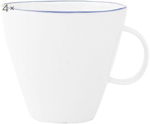 Kaffeetassen Abysse weiß/blau, 4 Stück, Porzellan, Weiß, Blau, 9 x 9 cm