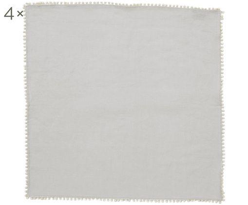 Tovaglioli in lino Pom Pom, 4 pz., Lino, Grigio chiaro, Larg. 46 x Lung. 46 cm