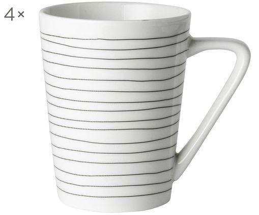 Tazza da tè Eris Loft, 4 pz., Porcellana, Bianco, nero, Ø 8 x A 10 cm