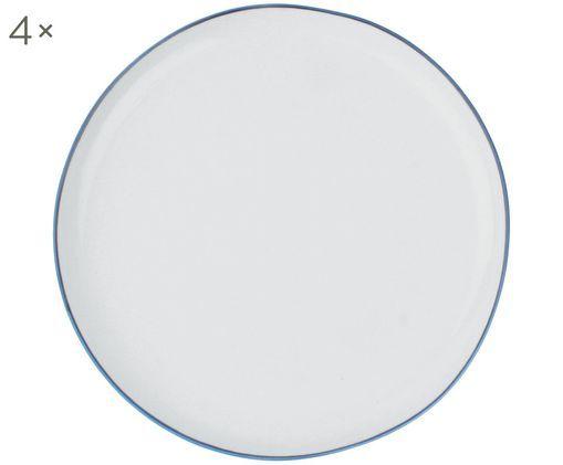 Frühstücksteller Abysse weiß/blau, 4 Stück, Porzellan, Weiß. Blau, Ø 21 cm