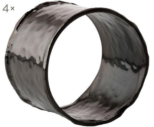 Serviettenringe Julek, 4 Stück, Messing, lackiert, Schwarz, Ø 5 cm