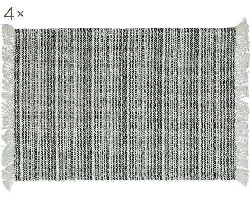 Manteles individuales Millesraies, 4uds., Algodón, Negro, blanco, An 40 x L 150 cm