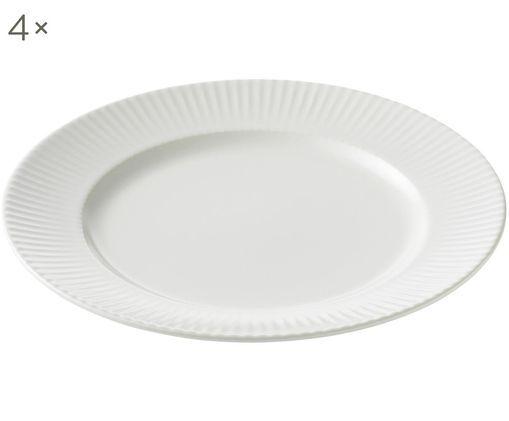 Frühstücksteller Groove mit Rillenstruktur, 4 Stück, Porzellan, Weiß, Ø 21 x H 1 cm