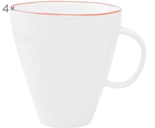 Kubek do kawy Abysse, 4 szt., Porcelana, Biały, czerwony, S 9 x W 9 cm