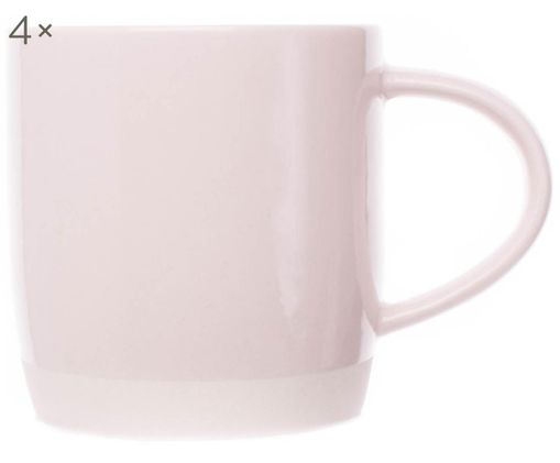 Handgefertigte Kaffeetassen Bisque, 4 Stück, Unten: Steingut, nicht glasiert, Hellrosa, Weiß, Ø 9 x H 9 cm