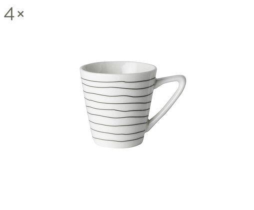 Espressotassen Eris Loft, 4 Stück, Porzellan, Weiß, Schwarz, Ø 6 x H 6 cm