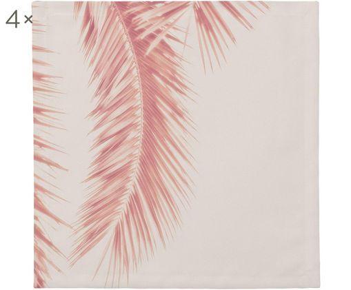 Tovagliolo di stoffa Palm Leaves, 4 pz., Cotone, Tonalità rosa, Larg. 40 x Lung. 40 cm