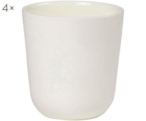 Tazza senza manico Nudge 4 pz, Porcellana, Crema, Ø 9 x Alt. 10 cm