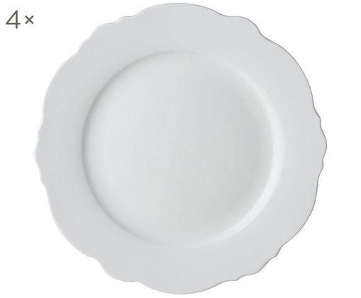 Assiettes plates coquillage Loft, 4 pièces, Blanc