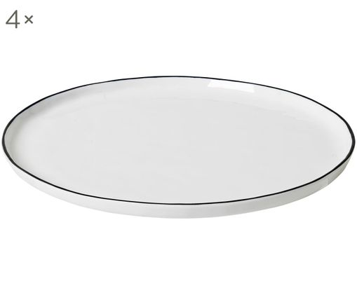 Piatti piani fatto a mano Salt, 4 pz., Porcellana, Bianco latte, nero, Ø 28 cm