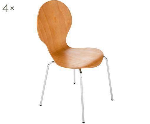 Sedie Marcus, 4 pz., Seduta: fibra a media densità, Struttura: acciaio, cromato, Marrone, Larg. 49 x Alt. 87 cm
