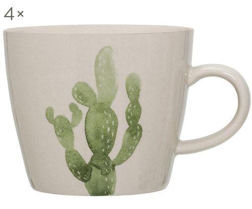 Tassen Jade, 4 Stück, Steingut, Beige, Grün, Ø 10 x H 8 cm