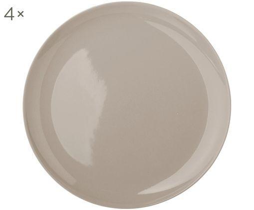 Assiettes plates faites à la main Bisque, 4pièces, Gris