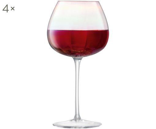 Mundgeblasene Rotweingläser Pearl mit Perlmuttglanz, 4er-Set, Perlmutt-Schimmer