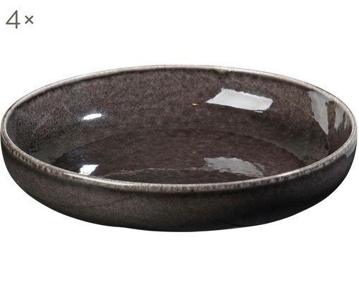 Handgefertigte Schalen Nordic Coal, 4 Stück, Steingut, Bräunlich, Ø 22 x H 5 cm