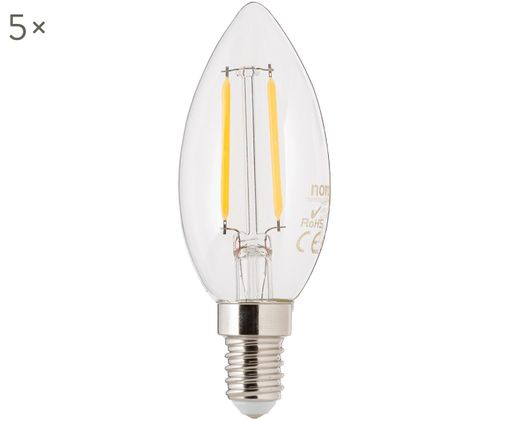 LED Leuchtmittel Vel (E14 / 2,5Watt) 5 Stück, Leuchtmittelschirm: Glas, Leuchtmittelfassung: Aluminium, Transparent, Ø 4 x H 10 cm