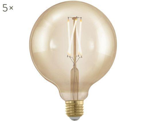 XL LED-Leuchtmittel Cross (E27 / 4Watt) 5 Stück, Leuchtmittelschirm: Glas, Leuchtmittelfassung: Aluminium, Transparent, Bernsteinfarben, Ø 13 x H 17 cm