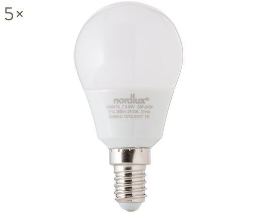 Lampadina a LED Azer (E14 / 4Watt) 5 pz, Paralume: vetro opale, Base lampadina: alluminio, Bianco, Ø 5 x Alt. 9 cm