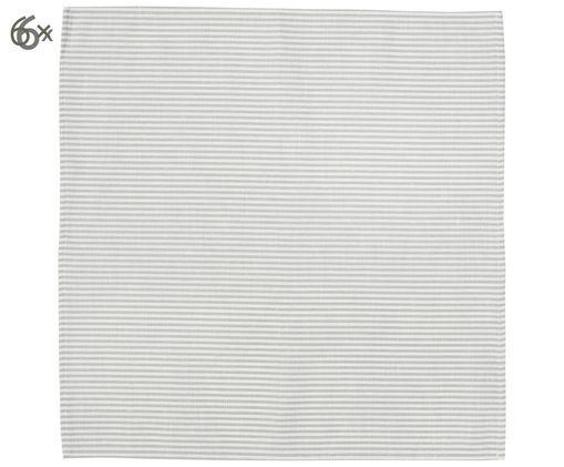 Leinenservietten Streifen, 6 Stück, Weiß, Grau, 45 x 45 cm