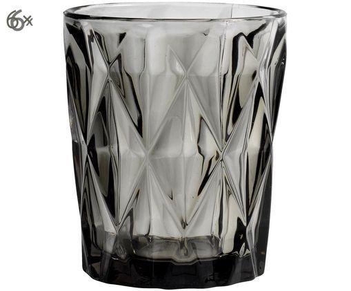 Vintage Wassergläser Diamond mit Strukturmuster, 6er-Set, Rauchgrau, leicht transparent