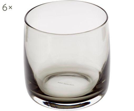 Handgefertigte Wassergläser Colored in Grau/Transparent, 6 Stück