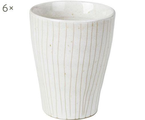 Mugs faits à la main Copenhagen, 6pièces, Ivoire avec fines rayures beige clair
