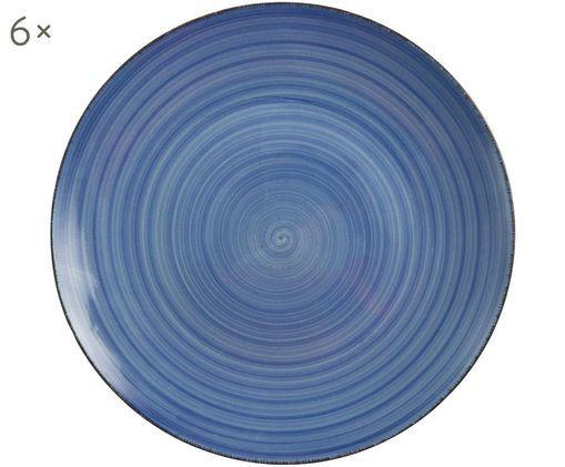Frühstücksteller Baita, 6 Stück, Steingut (Hard Dolomite), handbemalt, Blau, Ø 20 cm